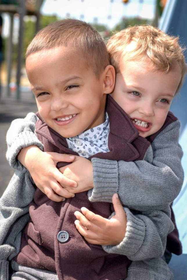 **6PM EMBARGO SUNDAY JULY 5 2015** Bobby and Riley twins playing in the park. Felton  See SWNS story SWTWINS; ëMy twin boys donít even look like theyíre relatedí ñ says a 22 year old mum of three who gave birth to twins and was shocked to see at three months old that one was white with curly hair and one had dark brown skin with straight hair  When Abigail, 22, a full time mum, from South West London, takes her sons out to play, other mums canít believe theyíre related. Some even ask if sheís babysitting someone elseís child. Bobby and Riley, now three, may have been born 30 minutes apart, but they couldnít look more different. Although they were both white babies, when the twins turned three months she started noticing shocking differences between them. Bobby, who was born first weighing 5lbs 2oz, kept his white skin and sprouted curly blonde hair whereas Riley, who weighed 5lbs 3oz, had darker brown skin and grew straight brown hair.