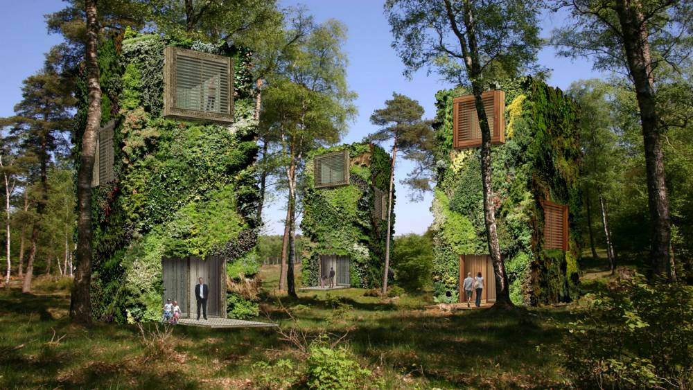 PIC FROM OAS1S FOUNDATION / CATERS NEWS - (PICTURED: PLANS FOR THE OAS1S CITY) - A Dutch architect has designed ambitious plans for the first 100 per cent eco city - and its literally green. Raimond de Hullus tree-scrapers are part of a green utopia intended to be completely energy and water self-sufficient. Named The OAS1S Foundation, the concept showcases four-floor buildings that use recycled wood, triple glazing windows and solar panels. Inside the off-grid buildings, the interior is decked with glass halls, skylights, large windows and French balconies. The unique homes are covered in leafy foliage and located amongst a city woodland. SEE CATERS COPY