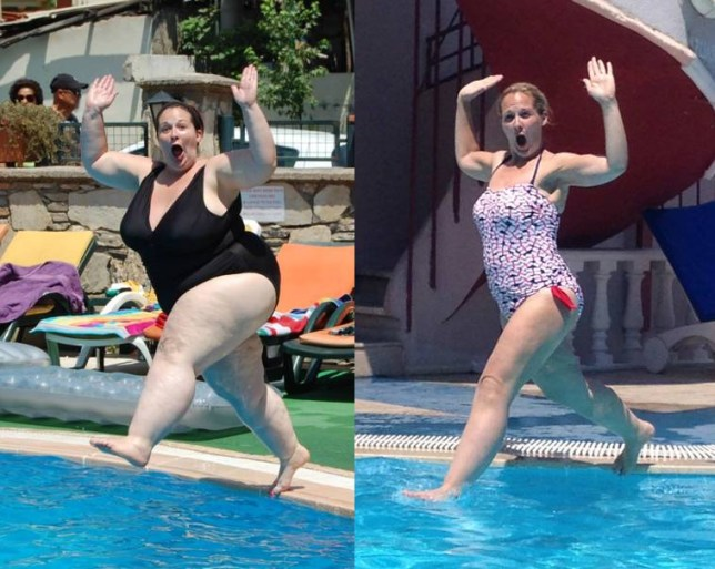 Caroline Kupfers, 33, from Scunthorpe, used to tip the scales at 20 stone and could only just fit into size 28 clothes due to a life-long 'addiction' to food. After seeing the 'disgusting' image of herself jumping into a pool on holiday, she went on to shed half her body weight and proudly re-enacted the pose showing off her new body for the camera.