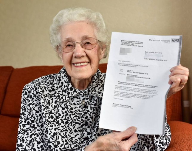"""Doris Ayling who is nearly 100 years old, who has received a letter from a hospital saying she is pregnant.  Material must be credited """"The Sun/News Syndication"""" unless otherwise agreed. 100% surcharge if not credited. Online rights need to be cleared separately. Strictly one time use only subject to agreement with News Syndication"""