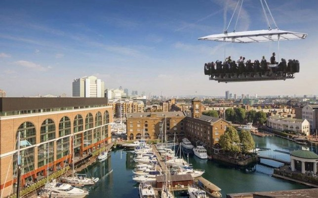 Eat a Michelin-starred dinner - dangling 25 metres above London  Credit: London in the Sky