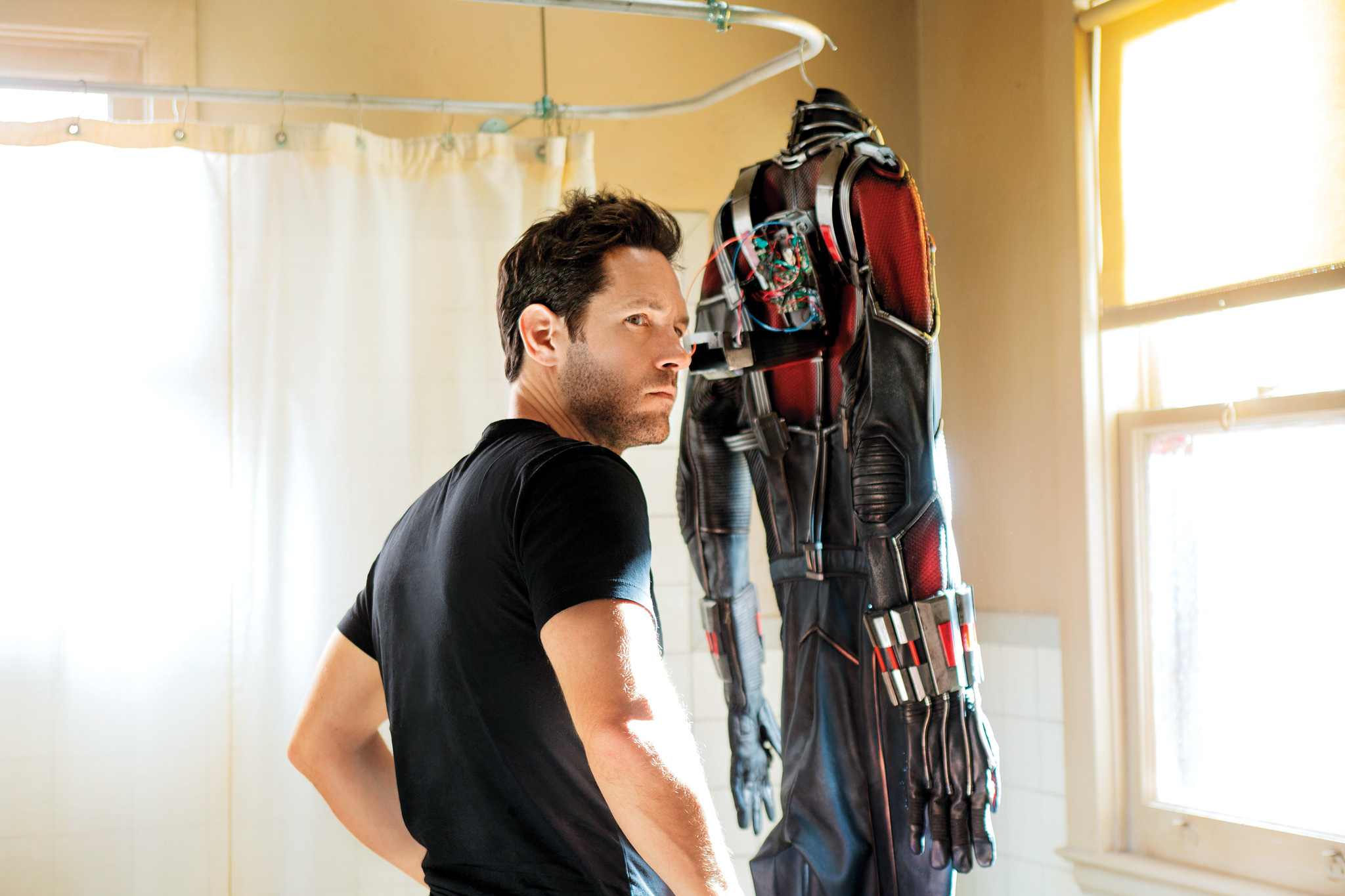 Paul Rudd getting ready to suit up as Ant-Man