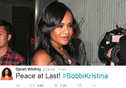 Oprah Winfrey leads the Twitter tributes to the late Bobbi Kristina Brown