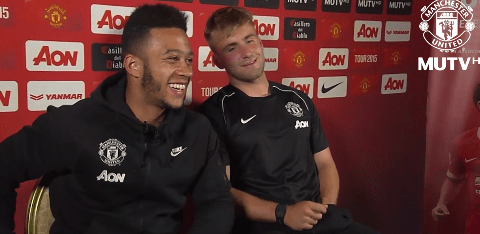 Manchester United pair Memphis Depay and Luke Shaw in fits of laughter after being asked about budding bromance