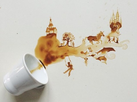 This incredible artist paints using spilled coffee, ice cream and breakfast