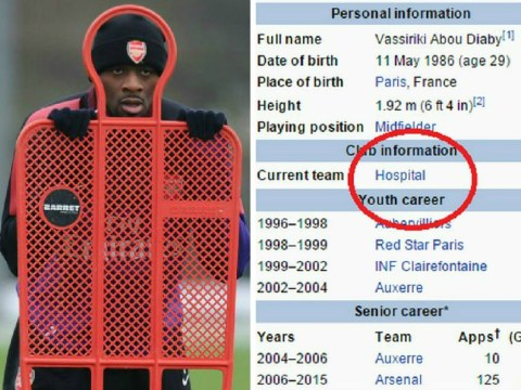 Abou Diaby has been ruthlessly trolled on Wikipedia by football fans