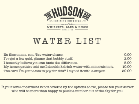 Hipster cafe launches alternate water menu dripping with sarcasm