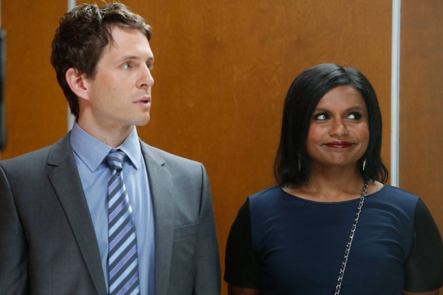 mindy and cliff the mindy project in an elevator