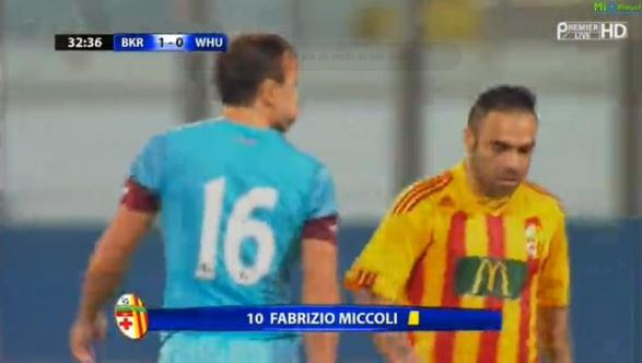 Mark Noble makes fun of Fabrizio Miccoli's weight with 'puffed cheeks' gesture during Birkirkara v West Ham