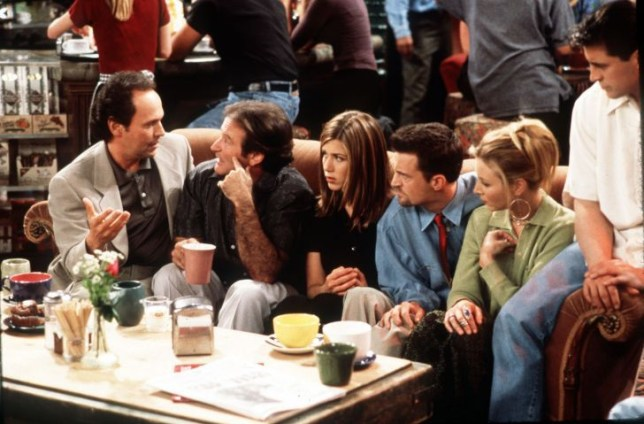 friends cast and robin williams drink coffee in central perk