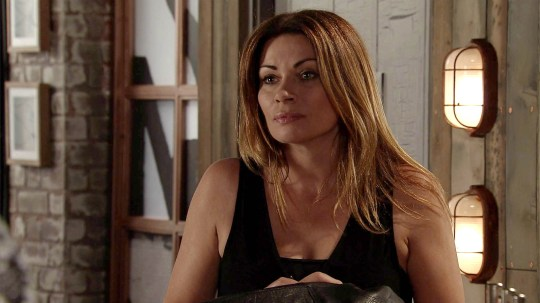 FROM ITV STRICT EMBARGO -TV Listings Magazines & websites Tuesday 11 August 2015, Newspapers Saturday 15 August 2015 Coronation Street - Ep 8714 Friday 21 August 2015 - 2nd Ep Carla Connor [ALISON KING] announces to Nick, Aidan Connor [SHAYNE WARD], Sally Webster [SALLY DYNEVOR] and Alya Nazir [SAIR KHAN] that she's staying put in Weatherfield and will no longer be selling. But when Aidan tells Carla he reckons him and her can still do a deal, will she agree to go into business with him?  Picture contact: david.crook@itv.com on 0161 952 6214 This photograph is (C) ITV Plc and can only be reproduced for editorial purposes directly in connection with the programme or event mentioned above, or ITV plc. Once made available by ITV plc Picture Desk, this photograph can be reproduced once only up until the transmission [TX] date and no reproduction fee will be charged. Any subsequent usage may incur a fee. This photograph must not be manipulated [excluding basic cropping] in a manner which alters the visual appearance of the person photographed deemed detrimental or inappropriate by ITV plc Picture Desk. This photograph must not be syndicated to any other company, publication or website, or permanently archived, without the express written permission of ITV Plc Picture Desk. Full Terms and conditions are available on the website www.itvpictures.com