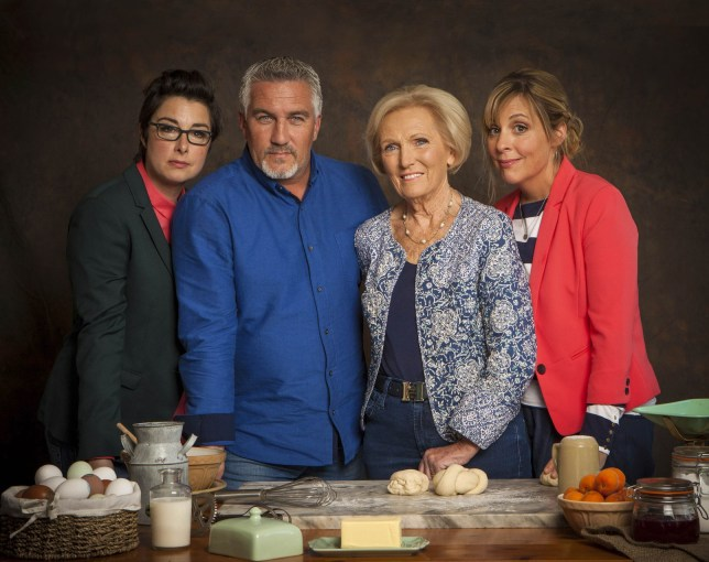WARNING: Embargoed for publication until 28/07/2015 - Programme Name: The Great British Bake Off - TX: n/a - Episode: n/a (No. 1) - Picture Shows: +++Publication of this image is strictly embargoed until 00.01 hours Tuesday July 28th, 2015+++ Sue Perkins, Paul Hollywood, Mary Berry, Mel Giedroyc - (C) Love Productions - Photographer: Mark Bourdillon