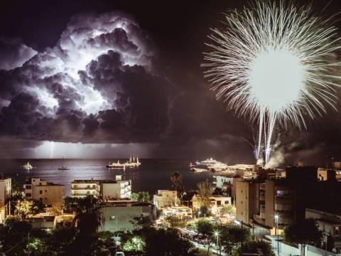 Lightning vs firework: photographer captures explosive shot of Ibiza skyline