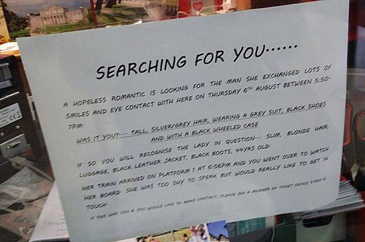 Woman posts 'hopeless romantic' advert seeking mystery man she exchanged smiles with on train platform