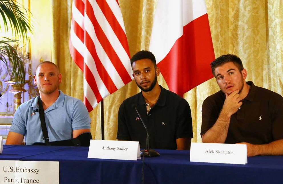 PARIS, FRANCE - AUGUST 23: Spencer Stone, Anthony Sadler and Alek Skarlatos Give A Press Conference at US Ambassador Residence on August 23, 2015 in Paris, France. Spencer Stone, Anthony Sadler and Alek Skarlatos overpowered a gunman aboard a high-speed train after 25-year-old Moroccan, Ayoub El-Khazzani, opened fire on a Thalys train traveling from Amsterdam to Paris. El-Khazzani, who had a Kalashnikov, an automatic pistol and a box cutter, was arrested when the train stopped at the French town of Arras. (Photo by Laurent Viteur/Getty Images)