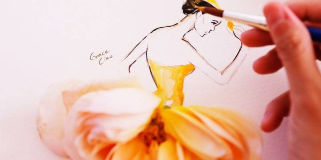 Grace Ciao Fashion Illustrator uses petals to display beautiful sketches Source: Grace Ciao / http://www.graceciao.com/latest/