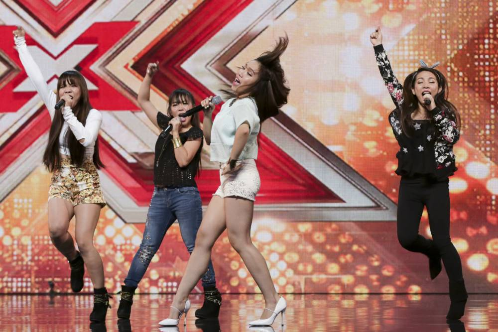 *** MANDATORY BYLINE TO READ: Syco / Thames / Corbis ***<BR /> X Factor contestants are seen on stage for the first show of the 2015 series. <P> Pictured: 4th Power <B>Ref: SPL1112374 200715 </B><BR /> Picture by: Dymond/Syco/Thames/Corbis<BR /> </P><P>