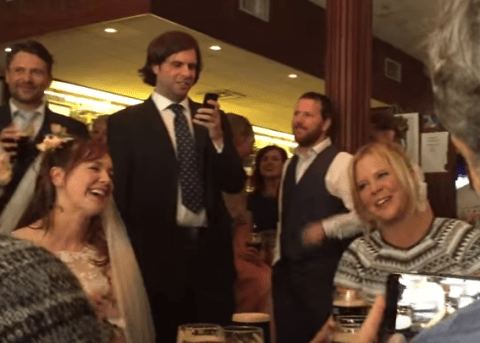 The moment Amy Schumer and Judd Apatow crashed a wedding in Dublin