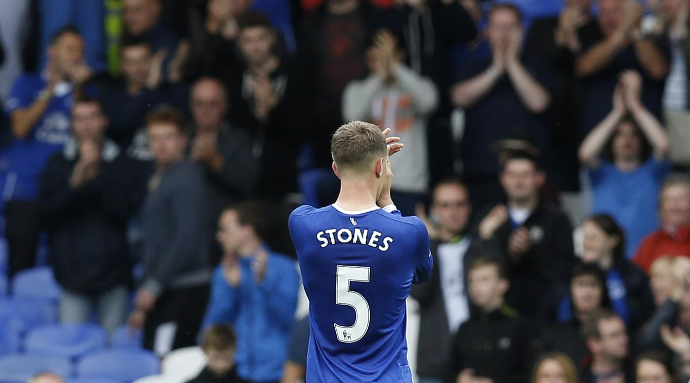 Everton's John Stones applauds the fans at the end of the match Andrew Yates/Reuters