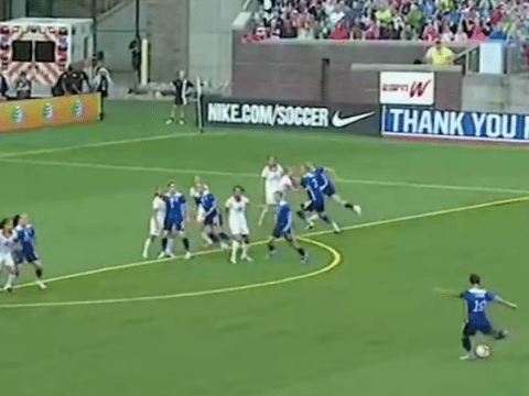 Watch the USA women's side score one of the best free kicks you'll ever see