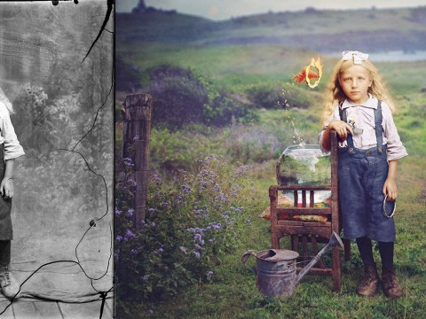 Artist gives old photographs a new life by adding colour and surreal backstories