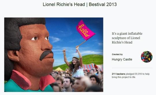 Lionel Ritchie's head on Kickstarter