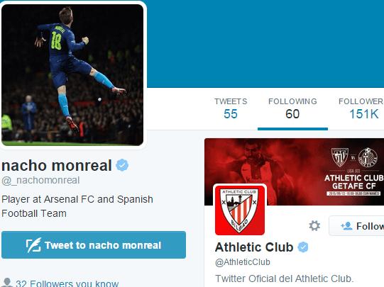 Arsenal's Nacho Monreal follows Athletic Bilbao on Twitter amid transfer speculation