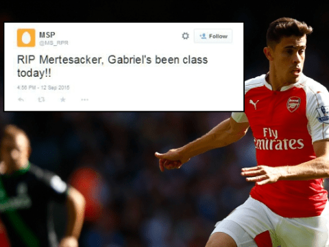 Arsenal fans have fallen in love with Gabriel Paulista after Stoke victory