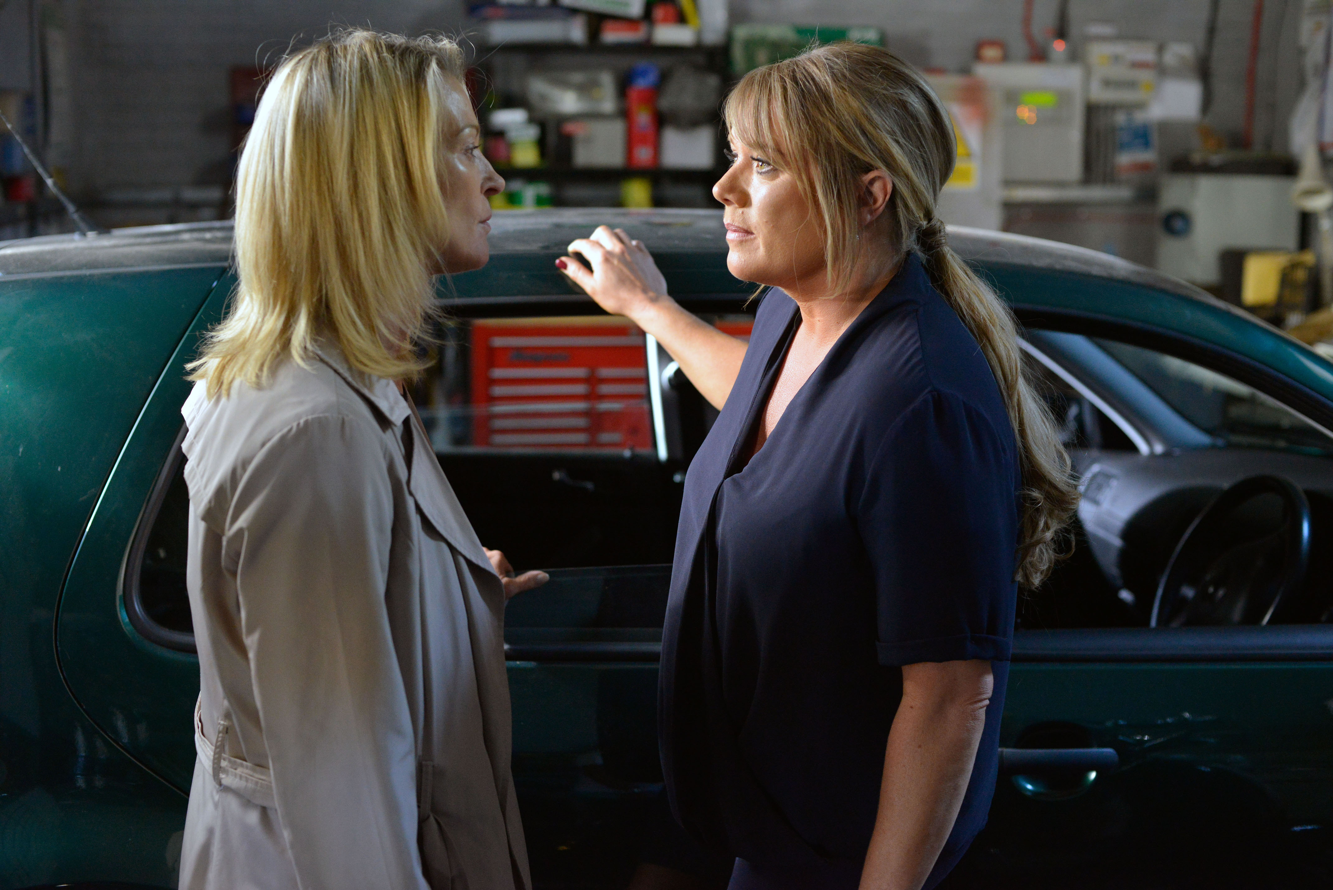 WARNING: Embargoed for publication until 08/09/2015 - Programme Name: EastEnders - TX: 14/09/2015 - Episode: 5137 (No. n/a) - Picture Shows: Sharon comes face to face with Kathy. Kathy Sullivan (GILLIAN TAYLFORTH), Sharon Mitchell (LETITIA DEAN) - (C) BBC - Photographer: Kieron McCarron