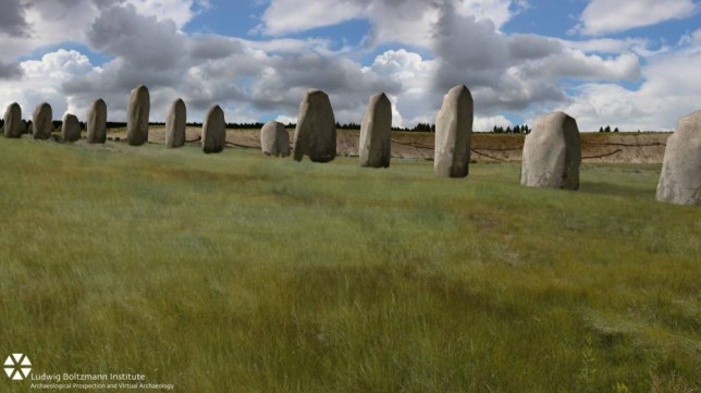 Embargoed to 0001 Monday September 7 Undated handout artist's impression issued by the British Science Association showing how the Durrington Walls monoliths might have looked more than 4,500 years ago. PRESS ASSOCIATION Photo. Issue date: Monday September 7, 2015. Hidden remains of an extraordinary neolithic monument that could be unique in the world have been found buried beneath the ground a mile from Stonehenge. See PA story SCIENCE Stones. Photo credit should read: Ludwig Boltzmann Institute/British Science Association/PA Wire NOTE TO EDITORS: This handout photo may only be used in for editorial reporting purposes for the contemporaneous illustration of events, things or the people in the image or facts mentioned in the caption. Reuse of the picture may require further permission from the copyright holder.