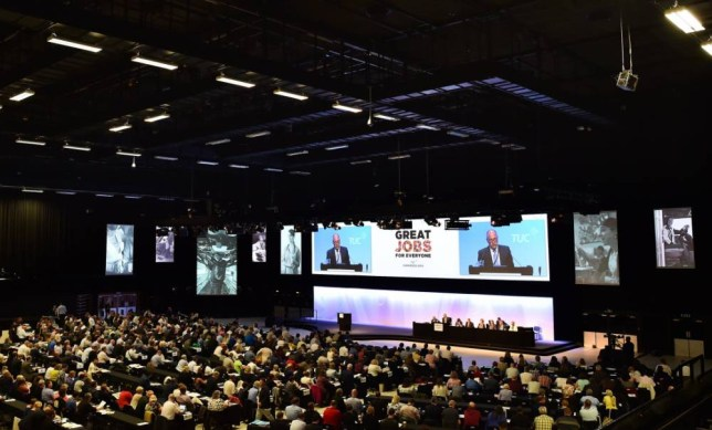 Delegates gather for the opening session of the TUC congress in Brighton, southern England on September 13, 2015. AFP PHOTO / BEN STANSALL (Photo credit should read BEN STANSALL/AFP/Getty Images)