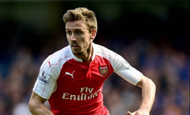 """Arsenal's Nacho Monreal during the Barclays Premier League match at Stamford Bridge, London. PRESS ASSOCIATION Photo. Picture date: Saturday September 19, 2015. See PA story SOCCER Chelsea. Photo credit should read: Adam Davy/PA Wire. RESTRICTIONS: EDITORIAL USE ONLY No use with unauthorised audio, video, data, fixture lists, club/league logos or """"live"""" services. Online in-match use limited to 45 images, no video emulation. No use in betting, games or single club/league/player publications."""