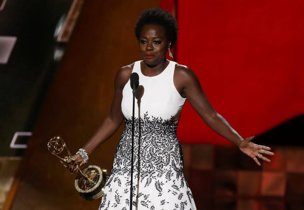 "Viola Davis accepts the award for Outstanding Lead Actress In A Drama Series for her role in ABC's ""How To Get Away With Murder"" at the 67th Primetime Emmy Awards in Los Angeles, California September 20, 2015. REUTERS/Lucy Nicholson"