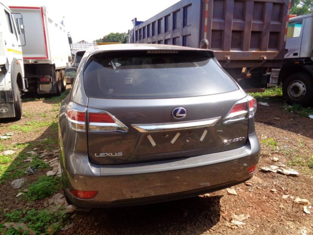 One of the cars stolen in London which was traced to a car yard in Uganda. See SWNS story SWSTOLEN; Detectives tracing a Lexus stolen from London ended up locating it in UGANDA alongside a fleet of cars worth more than £1 million. The luxury SUV, worth around £45,000, was stolen from West London but fitted with state-of-the-art tracking technology. As a result the National Crime Agency managed to trace the journey of the stolen car 6,000 miles away in Kampala, Uganda. When they discovered the car, they were stunned to find it was one of 28 posh 4x4s which had been stolen from the UK by the car-smuggling gang.