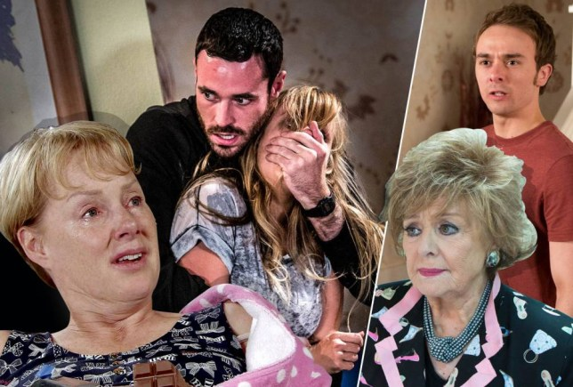 Undated handout photo issued by ITV of of Sean Ward as Callum Logan and Tina O'Brien as Sarah-Louise Platt rehearsing thrilling fight scenes which will be aired in the first part of the Coronation Street Live episode on Wednesday September 23. PRESS ASSOCIATION Photo. Issue date: Sunday September 20, 2015. New pictures released of Sean Ward and Tina O'Brien in rehearsal offer a sneak peek into the opening scenes for the soap's highly anticipated live episode, celebrating 60 years of ITV.nSee PA story SHOWBIZ Corrie. Photo credit should read: Joseph Scanlon/ITV/PA WirenNOTE TO EDITORS: This handout photo may only be used in for editorial reporting purposes for the contemporaneous illustration of events, things or the people in the image or facts mentioned in the caption. Reuse of the picture may require further permission from the copyright holder.