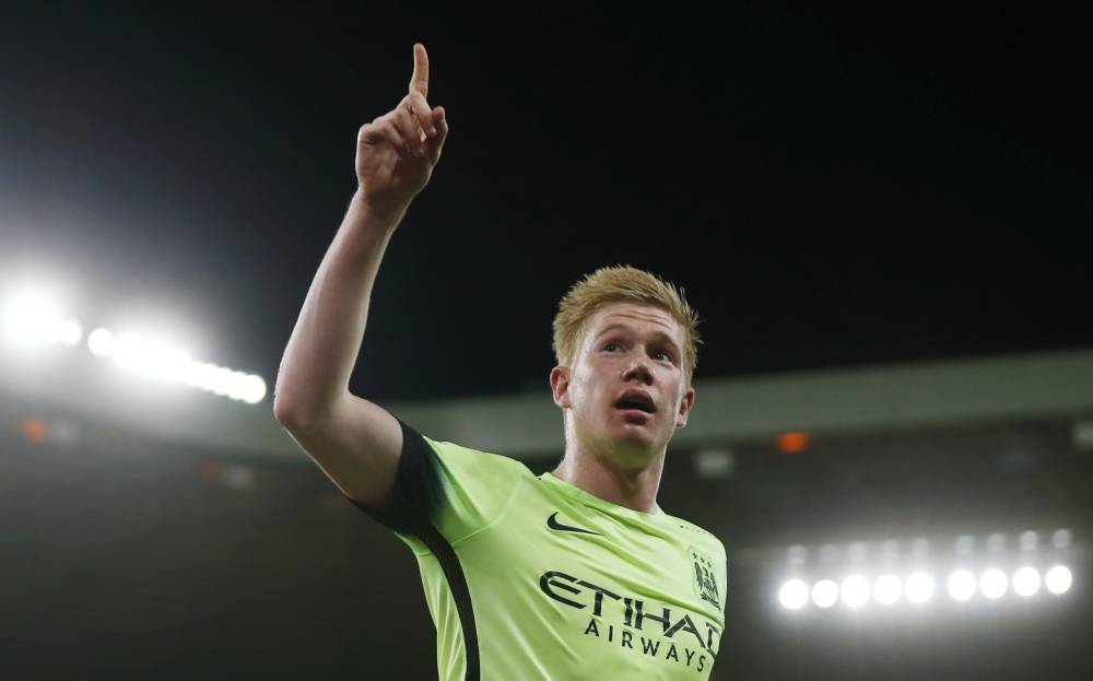 """Football - Sunderland v Manchester City - Capital One Cup Third Round - Stadium of Light - 22/9/15 Kevin De Bruyne celebrates after scoring the second goal for Manchester City Action Images via Reuters / Lee Smith Livepic EDITORIAL USE ONLY. No use with unauthorized audio, video, data, fixture lists, club/league logos or """"live"""" services. Online in-match use limited to 45 images, no video emulation. No use in betting, games or single club/league/player publications. Please contact your account representative for further details."""