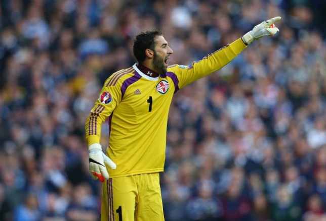 GLASGOW, SCOTLAND - OCTOBER 11: Giorgi Loria of Georgia during the EURO 2016 Qualifier match between Scotland and Georgia at Ibrox Stadium on October 11, 2014 in Glasgow, Scotland. (Photo by Alex Livesey/Getty Images)