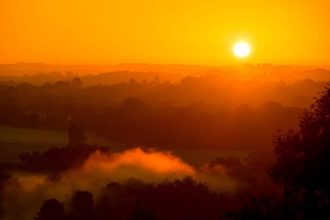 The sun rises over Bristol as Autumn sets in with a frost and mist. September 27 2015. With autumn just three days old the temperature has dropped in the morings creating beautilful panoramas across the country.