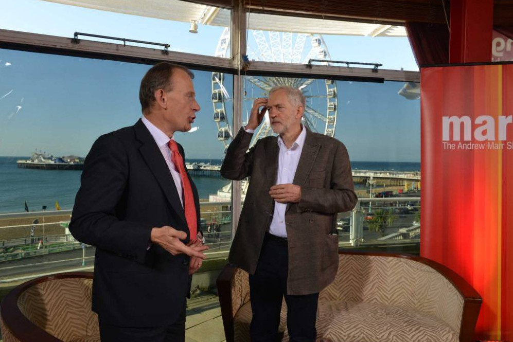 "BRIGHTON - SEPTEMBER 27: (NO SALE/NO ARCHIVE) In this handout image provided by the BBC, Labour Leader Jeremy Corbyn appears on the Andrew Marr show ahead of the Labour Party Autumn Conference on September 27, 2015 in Brighton, England. (Photo by Jeff Overs/BBC via Getty Images) Warning: Use of this copyright image is subject to Terms of Use of BBC Digital Picture Service. In particular, this image may only be used during the publicity period for the purpose of publicising ""Andrew Marr Show"" and provided the BBC is credited."