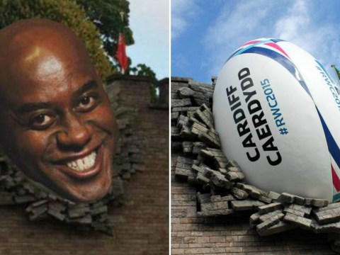Someone has replaced Cardiff's Ball in the Wall with Ainsley Harriott's head
