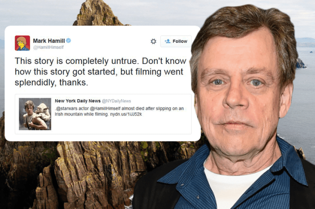 Mark Hamill did not nearly die during SW7 filming