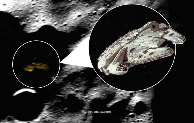 millennium falcon spotted on the moon Credit: Google Earth