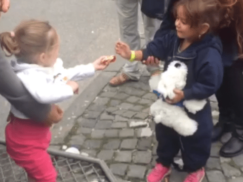Young German girl gives food to a newly-arrived young refugee