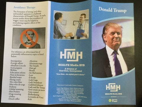 Someone created a fake health pamphlet about the serious condition of Donald Trump