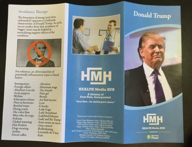 someone made a fake donald trump health brochure