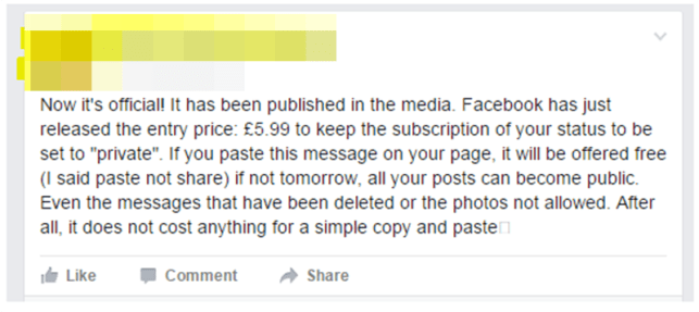 Click to enlarge the hoax message which has been floating around the site recently (Picture: Facebook)