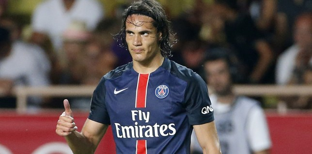 MONACO - AUGUST 30: Edinson Cavani of PSG celebrates a goal during the first half of the French Ligue 1 match between AS Monaco and Paris Saint-Germain at Stade Louis II on August 30, 2015 in Monaco. (Photo by Jean Catuffe/Getty Images)
