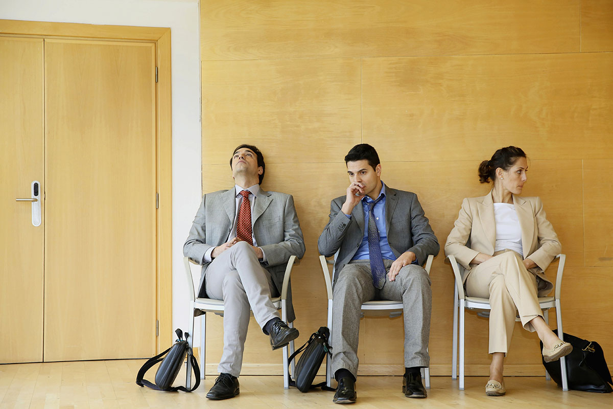Business people in a waiting room, Spain
