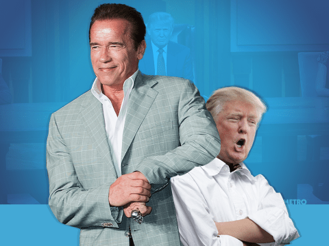 Erm…Arnold Schwarzenegger is replacing Donald Trump as the host of Celebrity Apprentice