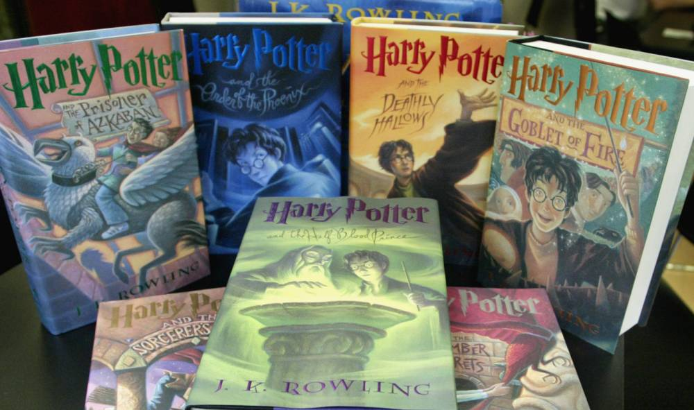 The seven-book print set of Harry Potter books autographed by author J.K. Rowling are seen at the National Braille Press in Boston, Wednesday, Oct. 3, 2007. Rowling rarely signs books, and the copies being auctioned, as part of the nonprofit's annual fundraiser, by the Boston based press are the only known signed complete set in the U.S. (AP Photo/Bizuayehu Tesfaye)